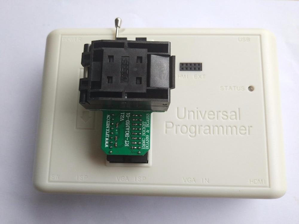 BGA169 / BGA153 EMMC BGA169-01 Socket Adapter With 4 pcs BGA bounding box  For RT809H Programmer