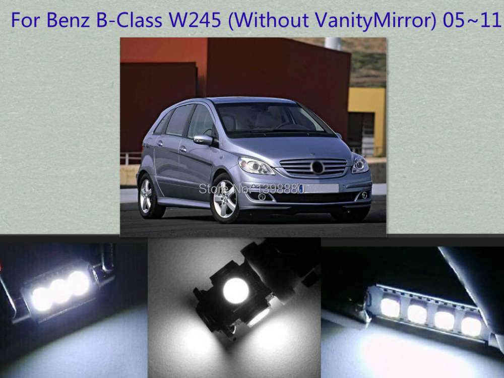 Error Free Canbus 11PCS White LED Interior Package kit For B-Class W245 2005~2011 Map Dome Box Trunk Courtesy Tag Lights