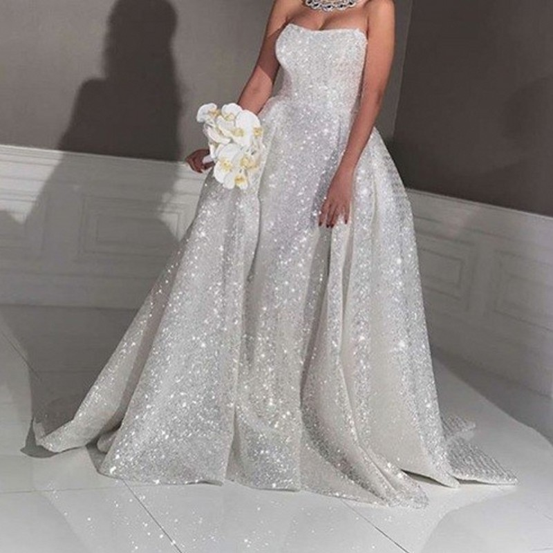 Wedding Dress White Glitter: Saudi Arabic Sparkle White Sequined Wedding Gowns Mermaid