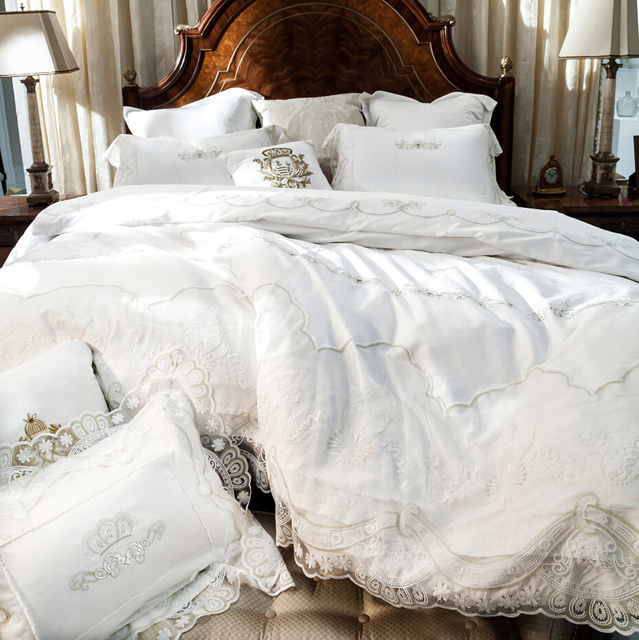 French Egyptian Cotton 800tc Satin Embroidery Lace Wedding