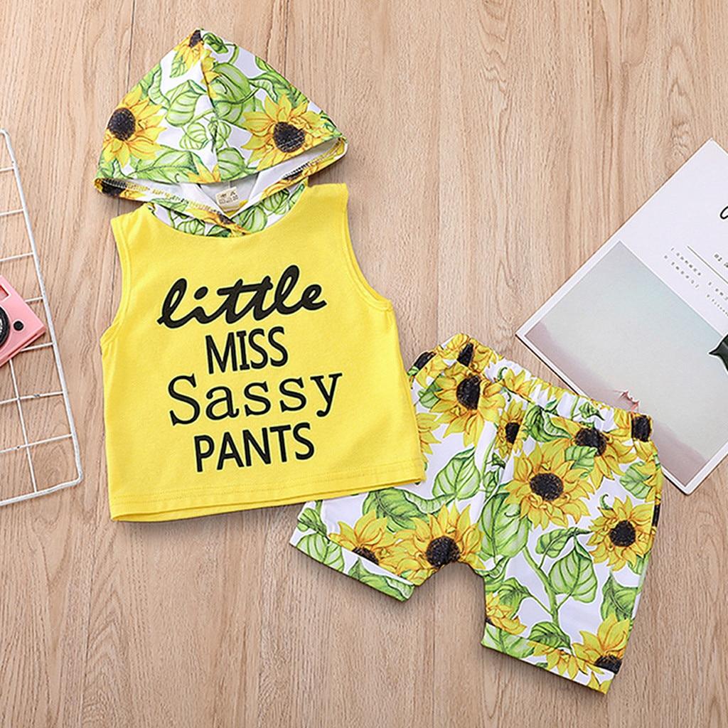 Szyadeou Tops Outfits-Sets Short Hooded Floral-Print Toddler Baby-Girls Infantis Letter