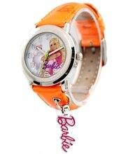 Nuevo orange band ronda pnp plata brillante caja de reloj reloj de los niños kw059d