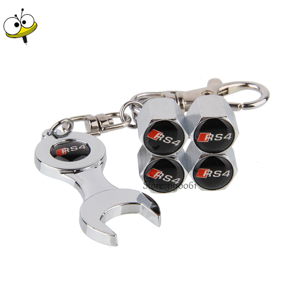 Car Wheel Tire Valve Stems Caps Wrench Keychain Car Accessories For RS4 Logo For Audi RS RS3 RS4 RS5 RS6 RS7 RSQ A3 A4 A5 A6 TT