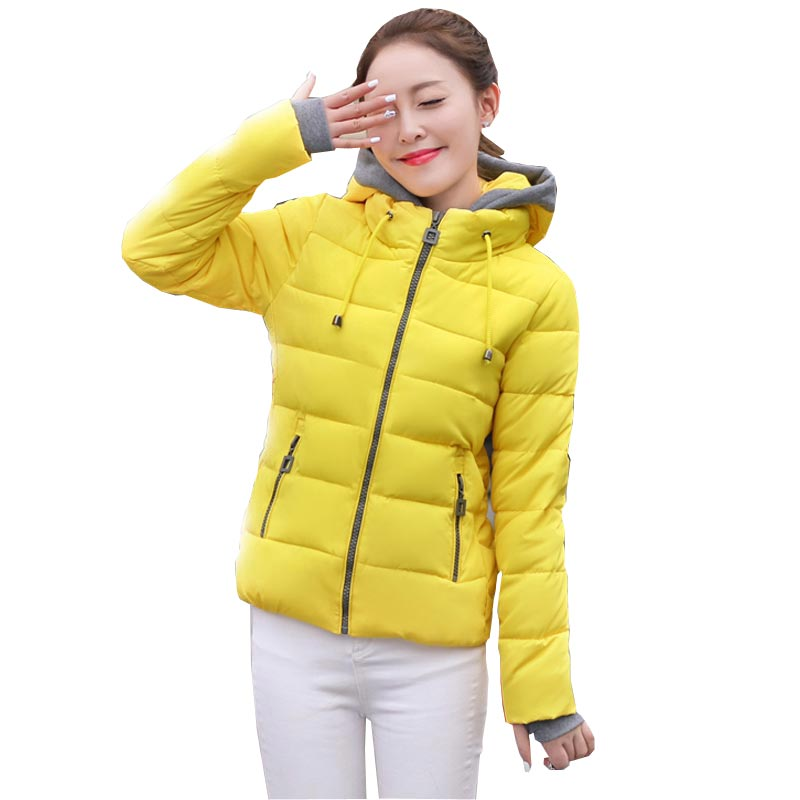 ФОТО winter cotton-padded short women jacket 2016 new wadded female outerwear coat plus size slim hooded coat with golves kp0726