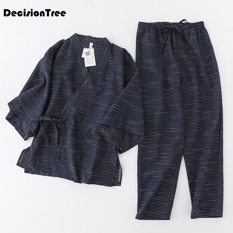 2020 floral short kimono pajamas sets for women men cotton linen japanese sakura stripes couple pyjamas simple pijama robes