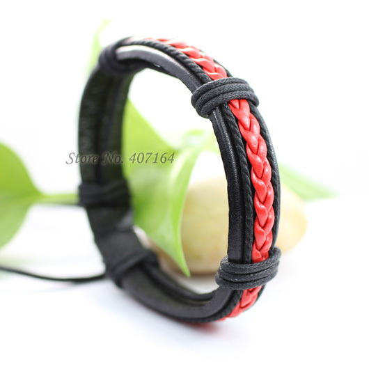 SF87-Handmade bright red ethnic jewelry handmade genuine braided wrap rope leather bracelet for man & for women
