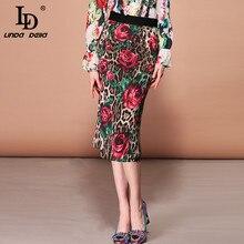 LD ليندا ديلا أزياء الصيف تنورة المرأة أنيقة مرونة الخصر Bodycon مثير روز الزهور ليوبارد طباعة ميدي تنورات الرصاص