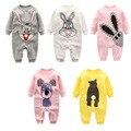 Moda Otoño Invierno ropa de bebé Recién Nacido bebé mameluco caliente del bebé del algodón de impresión de manga Larga Niños Niñas ropa