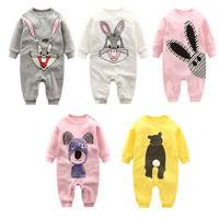 Fashion Autumn Winter Newborn Baby Clothes Long Sleeved Printing Baby Romper Warm Cotton Baby Boys Girls