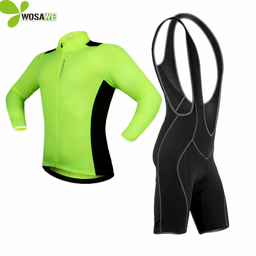WOSAWE 2017 Men Cycling Jersey Long Sets Bib Shorts Sleeve Bicycle Cycling clothes suit Quick Dry MTB bike road cycling clothing ботинки pinko pinko pi754awoif30