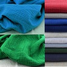 Freies ShippingSoft Leinen Baumwolle Material Baumwolle Crincle Falten Tissue Schals Kleid Doppel LayerLinen CottonCrepe Stoff