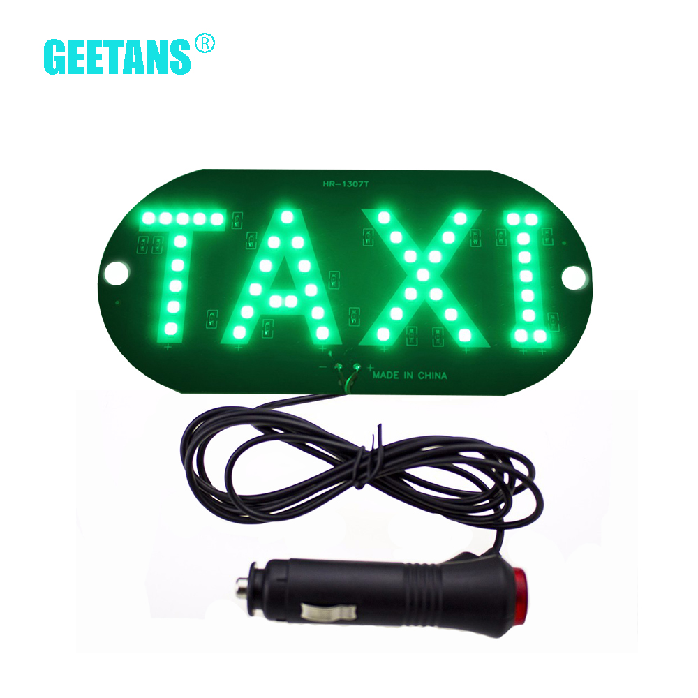 GEETANS 1pc / lot 12 V Taxi Led Voiture Voiture pare-brise Indicateur de cabine Lampe Signe Bleu LED Lampe De Taxi Taxi LED 4 couleurs CJ