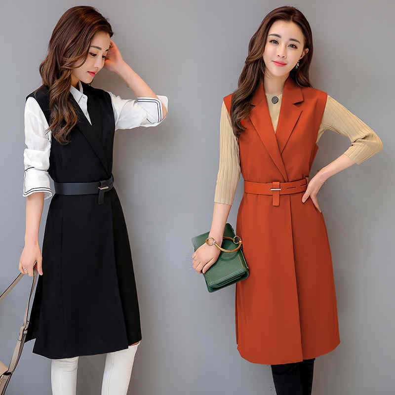 Autumn New Slim Long Suit Vest Women Sleeveless Vest Jacket Chaleco Mujer  Elegant Office Vest Coat 641ed7774