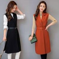 Autumn New Slim Long Suit Vest Women Sleeveless Vest Jacket Chaleco Mujer Elegant Office Vest Coat Fashion Waistcoat Women C4941