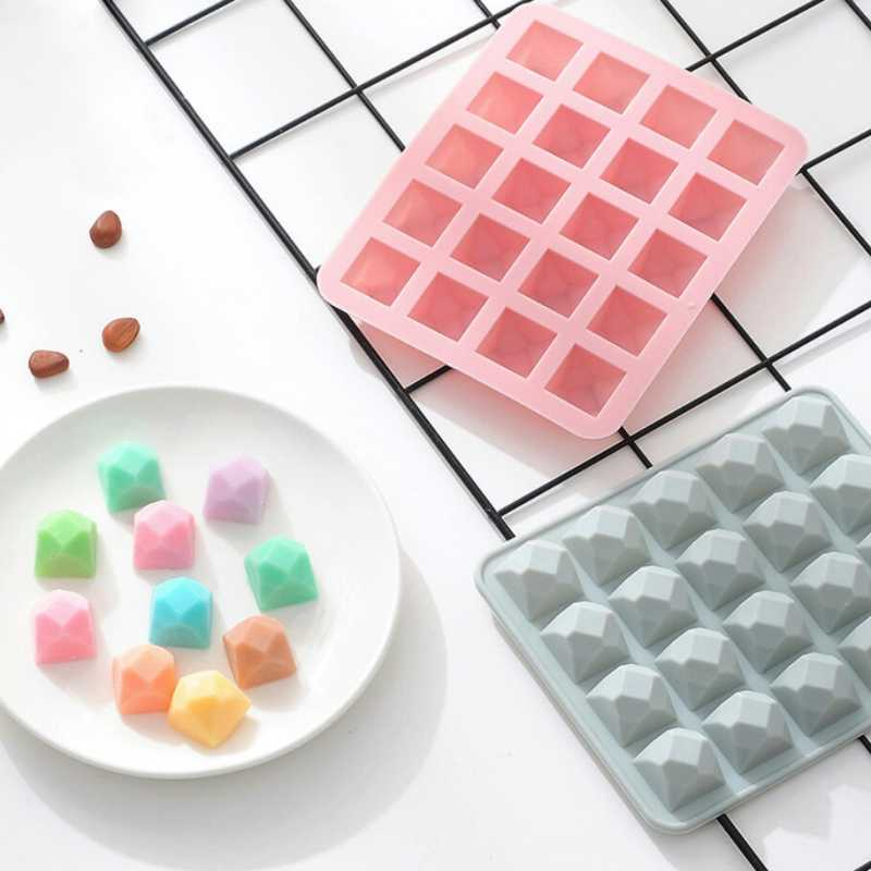 20 Grids Silicone Ice Cube Tray DIY Ice Cream Maker Diamond Shape Form Fondant Molds Ice Mold Kitchen Bar Drinking Accessories