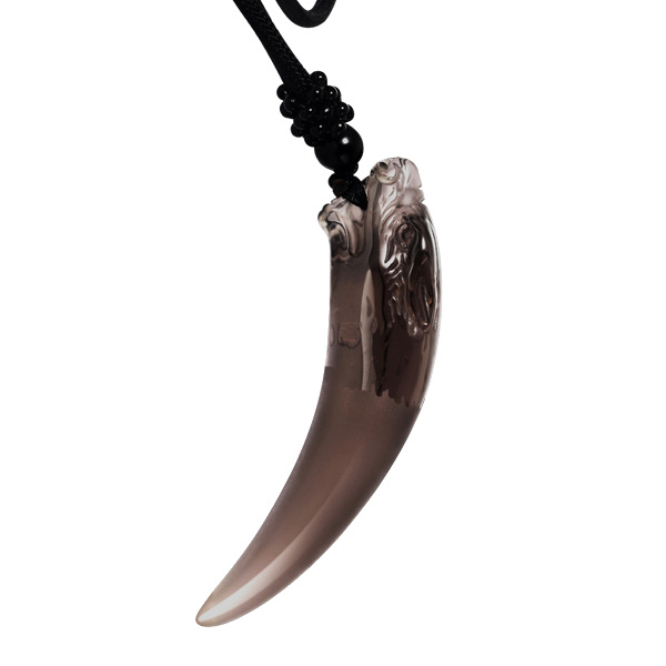 Natural Obsidian Wolf Teeth Pendant Necklace Fashion Charm Jewelry Lucky Amulet Wholesale