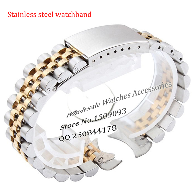 Wholesale Brand style Watch Band Strap 13mm 17mm 20mm curved end stainless steel silver with gold watch bracelet fold deployment цены