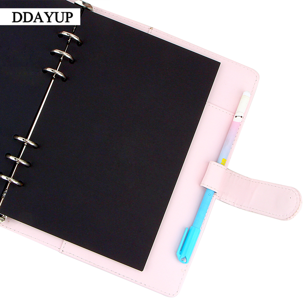 DIY Photo Album Scrapbook Paper Crafts 6 holes Black Card Handmade Spiral Binder Planner Inner Page Stationery