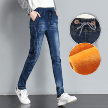 Plus Size Women Elastic High Waist Velvet Jeans Pants Winter