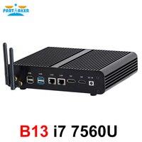 Partaker B13 Fanless Desktop Computer Mini PC I5 7200U i7 7500U Windows 10 Max 16G RAM 512G SSD 1TB HDD Free 300M WiFi 1.5M HDMI