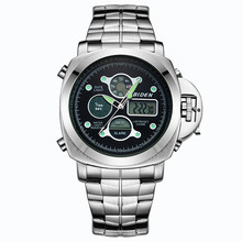 BlDEN Brand Quartz Chronograph Digital Watches Men Steel Wristwatch LED Watch Military Army Waterproof Diving Reloj Hombre