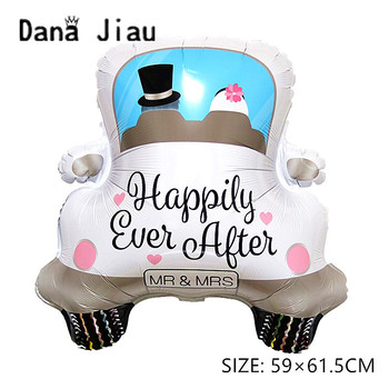 dana jiau romantic wedding car Balloon Happy ever after LOVE Foil ball Valentine's Day decoration lady wight dress Helium Ballon image