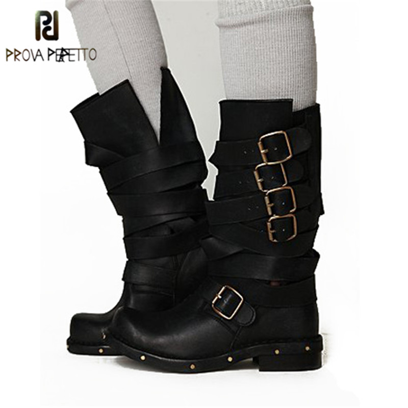 Prova Perfetto Spring Autumn New Style Neutral Design Real Leather Buckle Low Heel Boot Handsome Square