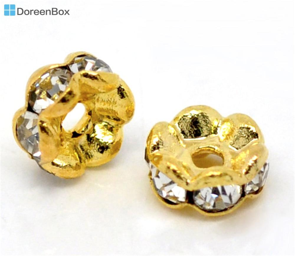 05d50b36b0b0 Doreen caja caliente-30 unids adornado color oro rondelles espaciadores  Cuentas 5mm dia. (B00524)