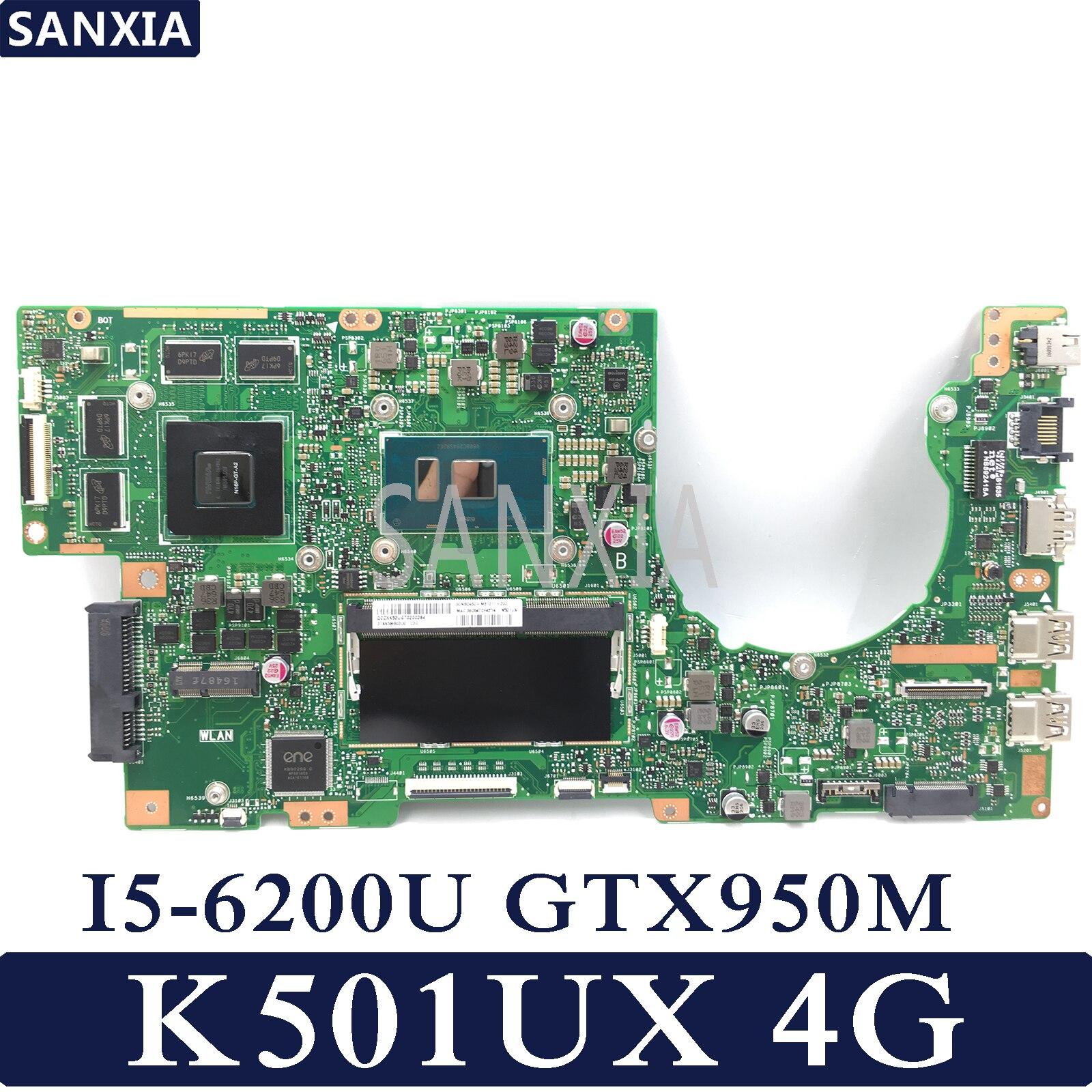 KEFU K501UX Laptop motherboard for ASUS K501UX K501UB original mainboard DDR3 4G RAM I5 6200U GTX950M