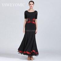 Black Yellow Dancing Dress Women Standard Ballroom Dance Dress for Waltz/tango/foxtrot Performance Competition Dress S9037