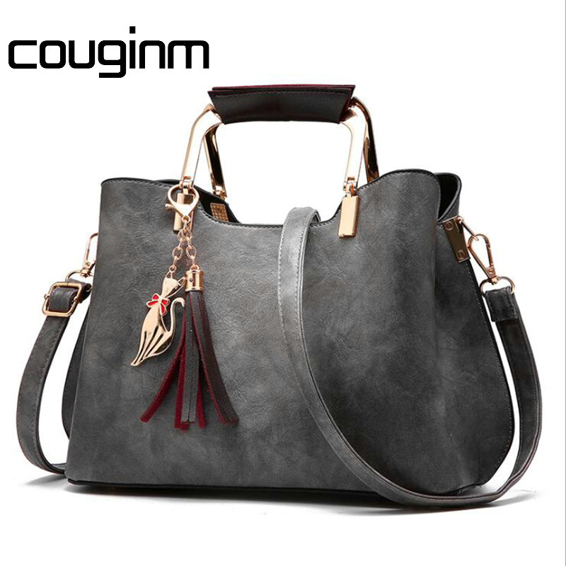 COUGINM Brand New Women Luxury Handbags Female Tassel Sequin Messenger Bag Quality PU Leather Tote Solid Zipper Evening Bags jooz brand new luxury women handbags lady pu leather crossbody shoulder messenger bags female boston bowknot solid pattern bag