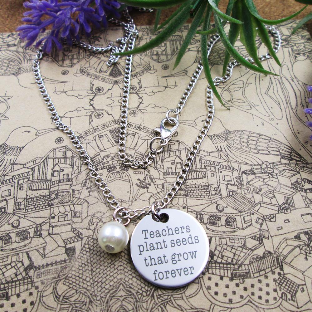 De moda de acero inoxidable de acero de encantos maestros semillas de plantas que crecen para siempre con cuentas Collar de plata plateado regalo de cumpleaños
