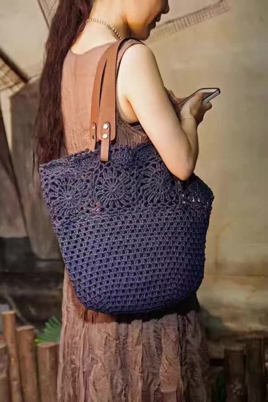 42x37CM Original Handmade Knitted Handbag with flax Rope Retro Shoulder bag Genuine Leather handle Linen Crochet Bag A2940 42x37cm original handmade knitted handbag with flax rope retro shoulder bag genuine leather handle linen crochet bag a2940