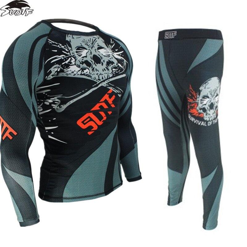 Fitness Boxe Thai Compression Sets T Shirt Men 3D Printed MMA Jiu Jitsu Crossfit Muscle Shirt Leggings Kick Boxing Tight Tops