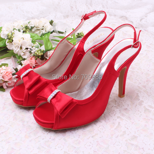 Sling back Satin Red Women Party Wear Shoes for Bride 11cm Heel with Bows Free  Shipping 5e3b1a341c4f