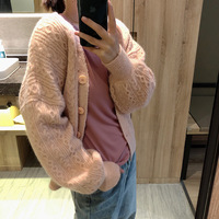 Mooirue Twist Cable Sweater Coat Flowers Knitted Cardigan Pink Blue White Loose Spring 2019 Femme Korean Style Sweater Sweater