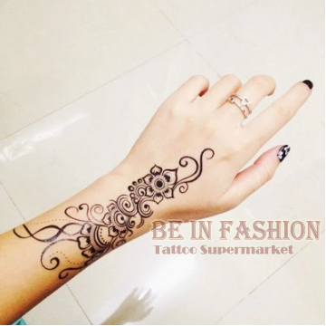 1 Piece Indian Arab Trendy Henna Hitam Tato Sementara Waterproof