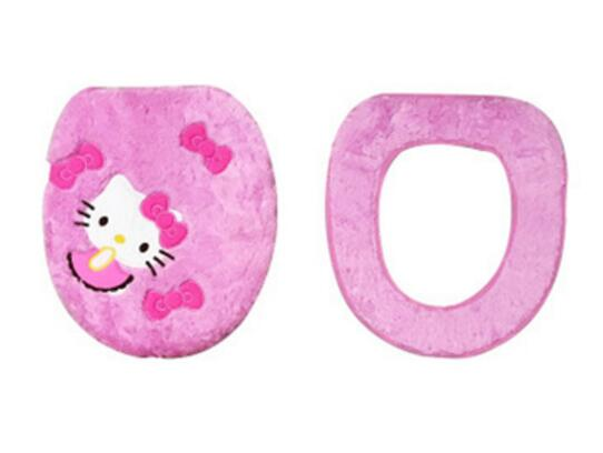 Мягкий теплый меховой коврик для ванной с рисунком котенка из мультфильма, Набор чехлов для унитаза - Цвет: cover and seat mat