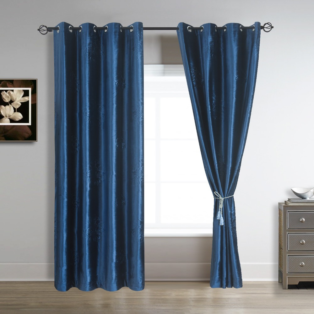 Navy blue curtains living room - 96 Length Inch Floral Embossed Velvet Curtains Panels Grommet 52 Inch Wide Draperies Navy Royal Blue 2 Panels For Living Room