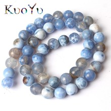 Wholesale Blue Cracked Fire Agates Natural Stone Beads Round Loose Beads For Jewelry Making 15