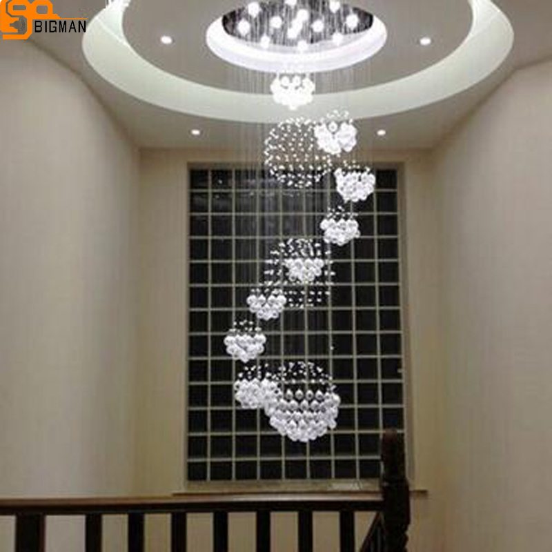 Venta caliente moderna araña de cristal grande AC110 220 V lustre escalera Dia80 * H280cm