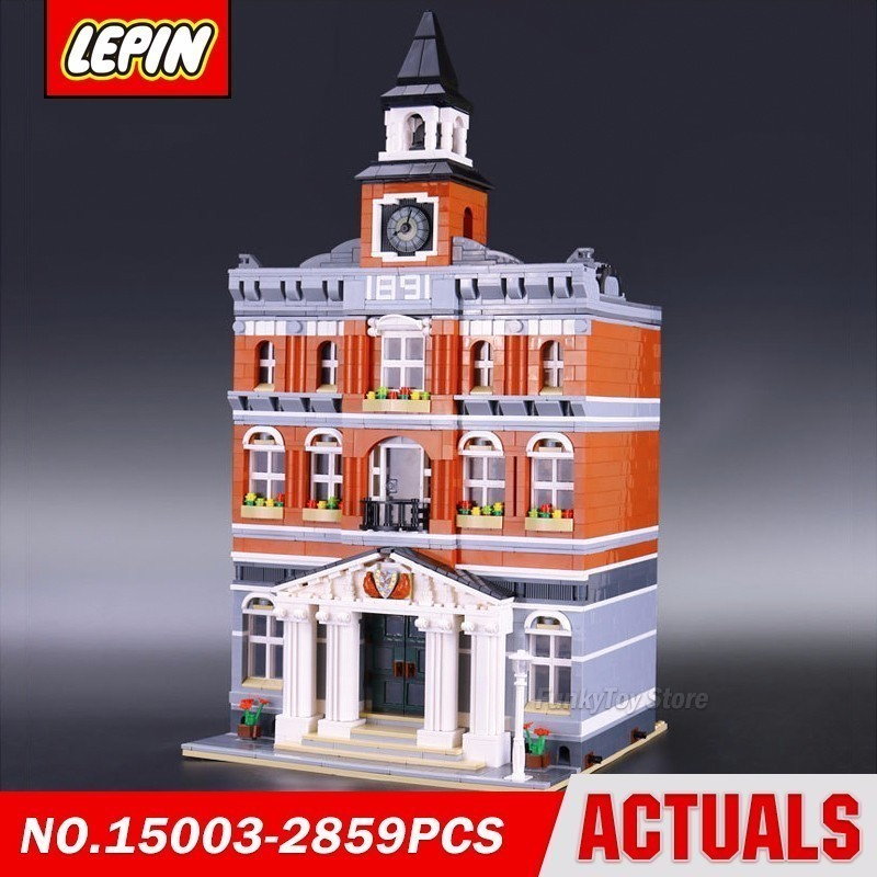 Lepin 15003 Town Hall 10224 City Street Series Model Building Block Brick Kits Compatible Toys in stock new lepin 17004 city street series london bridge model building kits assembling brick toys compatible 10214