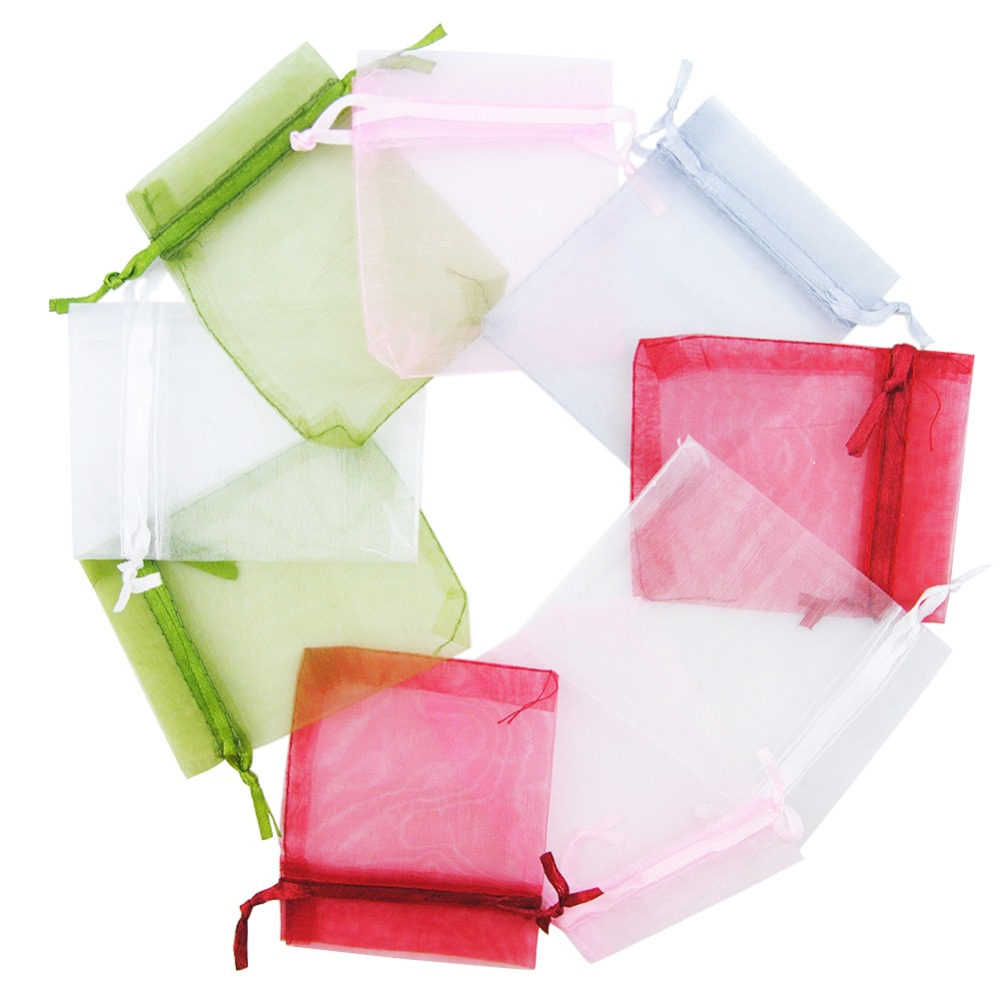 Wedding Gift Pouches: 50PCS/Set 9x7CM Colorful Gift Bag Tulle Jewelry Pouches