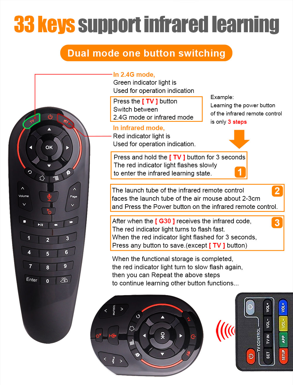 Huacp G30 Universal Remote Control Air Mouse IR RF 433Mah Learning For G20S  Samsung Skyworth Television Smart TV Box Projector