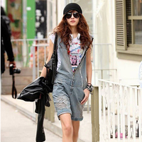 Spring Summer New Zipper Hole Denim Shorts Playsuit Vintage School Girl Hooded Casual Jumpsuit Romper Overall