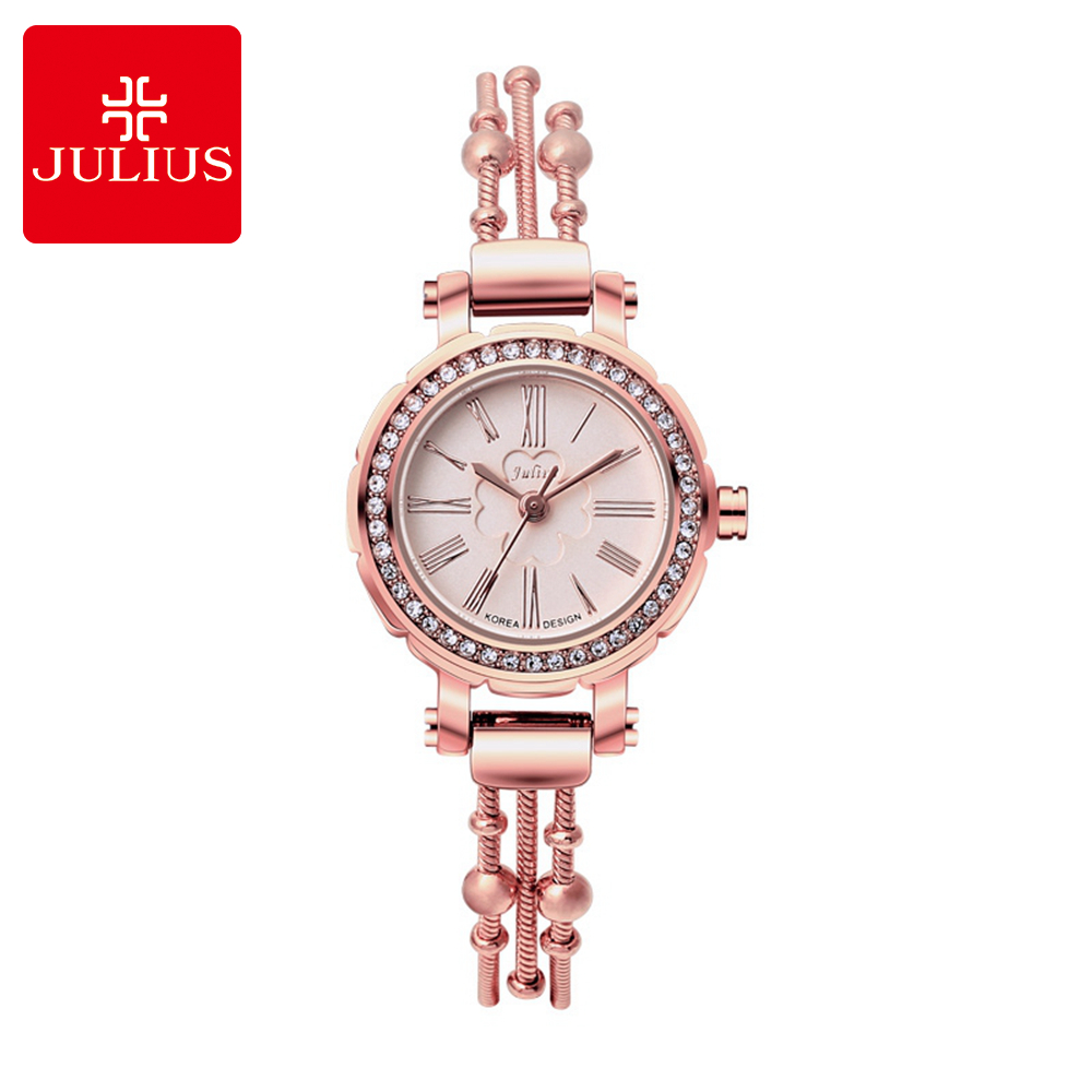 New Luxury Korea Best Women Bracelet Rhinestone Wristwatch Antique Gold Silver Watches Fashion Casual Quartz Watch Julius 809 duoya fashion luxury women gold watches casual bracelet wristwatch fabric rhinestone strap quartz ladies wrist watch clock