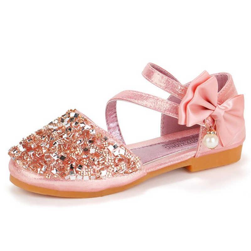 Speciale lancering 2019 lente zomer nieuwe meisjes prinses lederen schoenen Koreaanse kinderen sequin meisjes baby Parel bruiloft dansschoenen