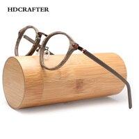 HDCRAFTER Prescription Eyeglasses Frames For Men and Women Retro Round Wood Grain Optical Glasses Frame with Clear Lens