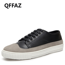 QFFAZ 2018 New Summer Men Casual Shoes Leather Breathable Brand Flat Shoes for Men Zapatos Hombre British Men Casueal Shoes