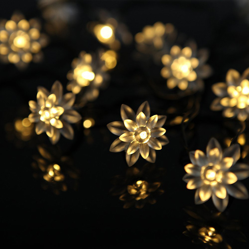 Warm White 3M 24 LED Lotus Flower Wedding Christmas Valentines day Decor String Lights Home Garden Decorations navidad